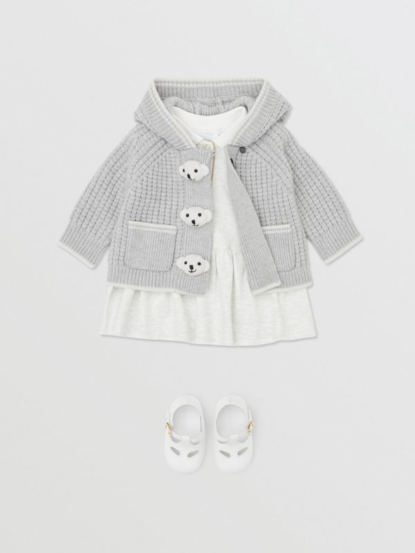 Thomas Bear Detail Wool Cashmere Hooded Jacket in Pale Grey - Children | Burberry - cell image 2