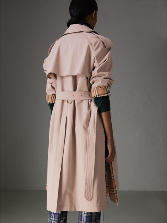 Side-slit Tropical Gabardine Trench Coat in Antique Taupe Pink - Women   Burberry United States - cell image 2