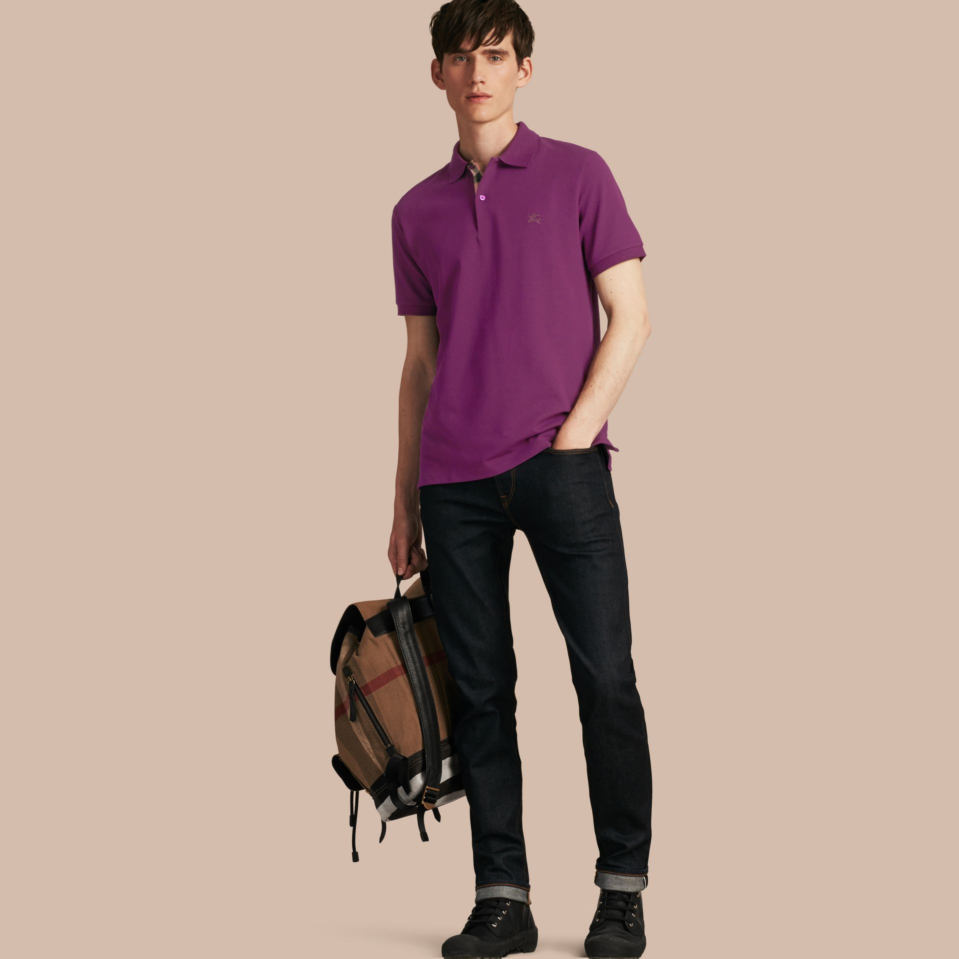 Check Placket Cotton Piqué Polo Shirt Deep Purple Amethyst - gallery image 1