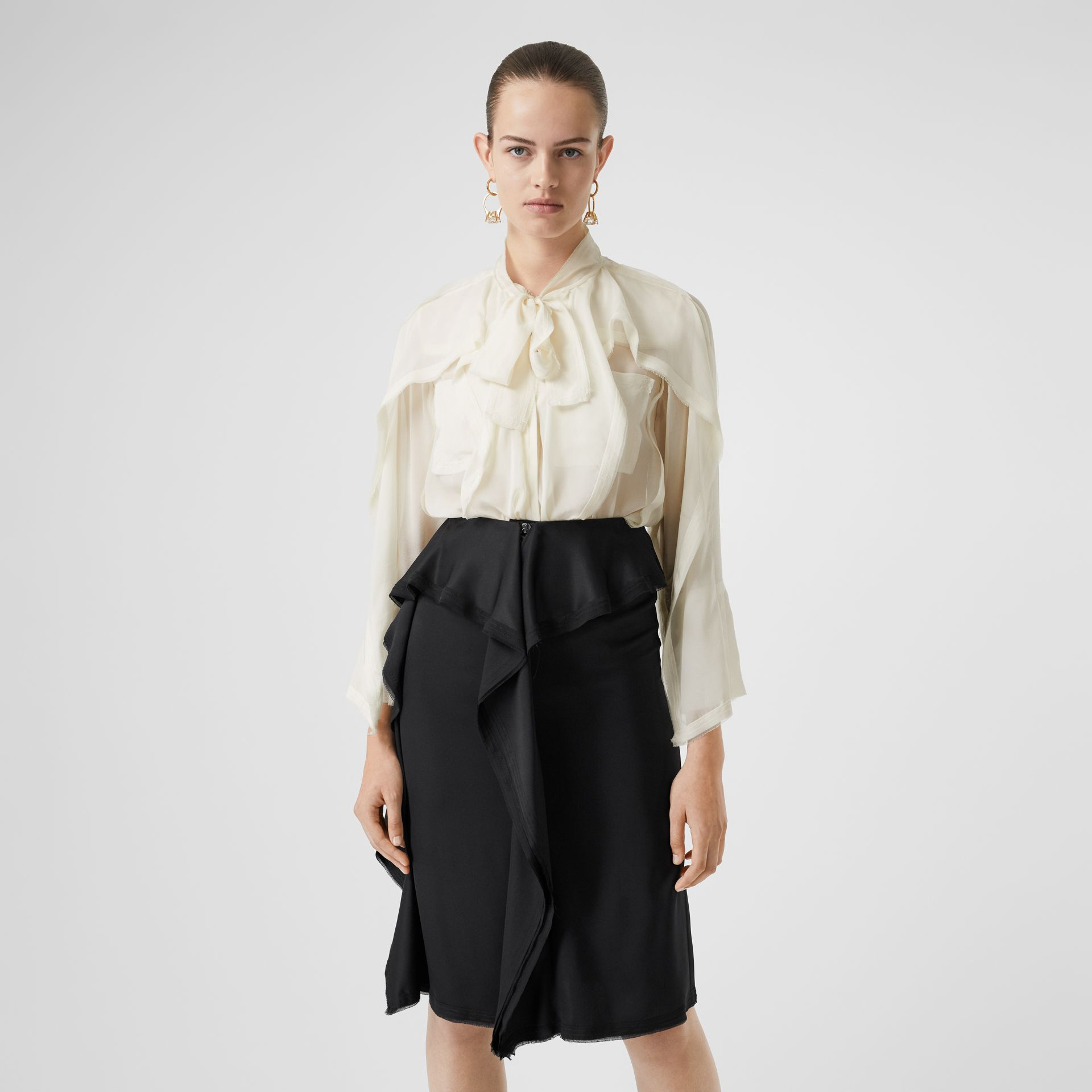 Ruffled Silk Chiffon Pussy-bow Blouse in Ivory - Women | Burberry - gallery image 4