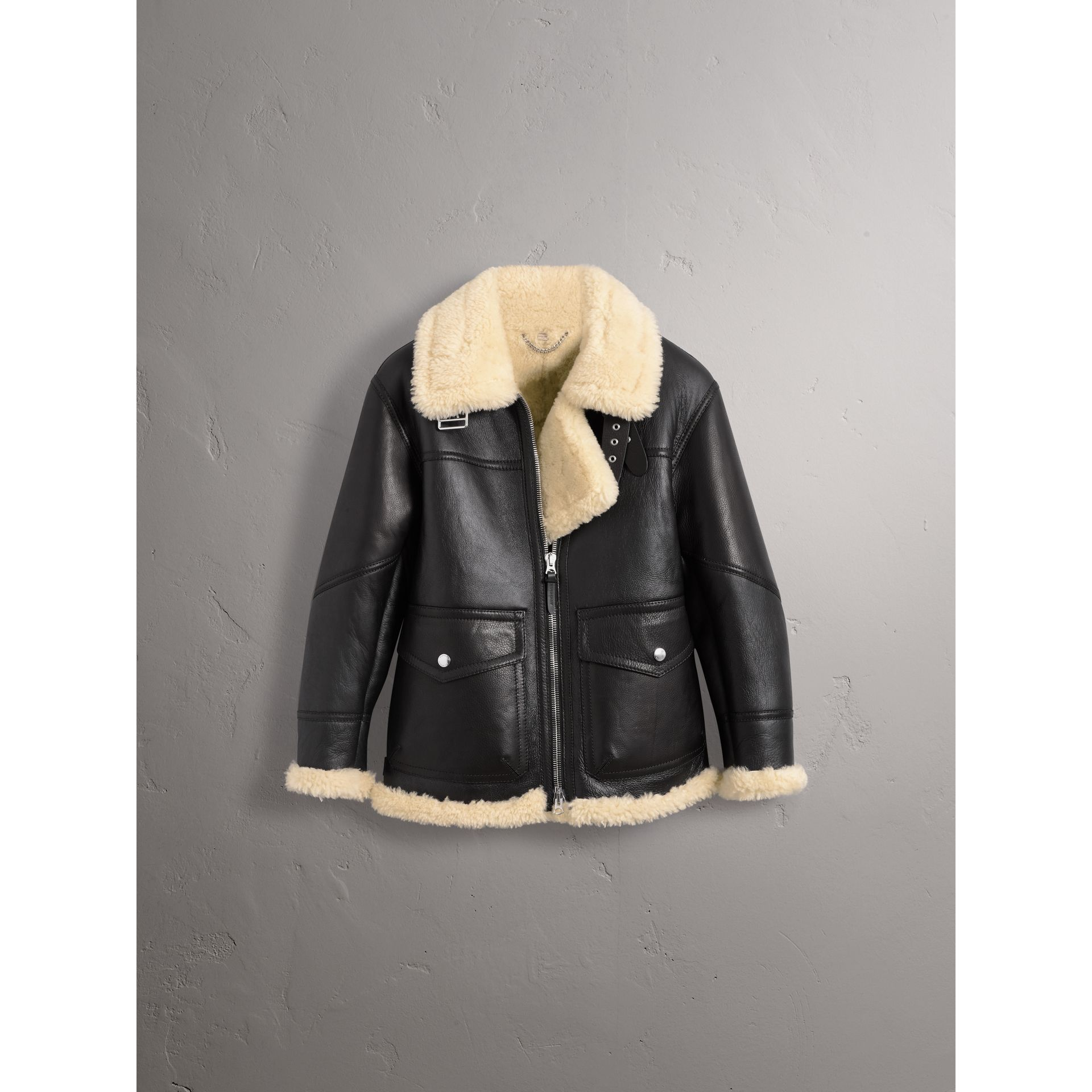 Shearling Aviator Jacket in Black - Women | Burberry - gallery image 4