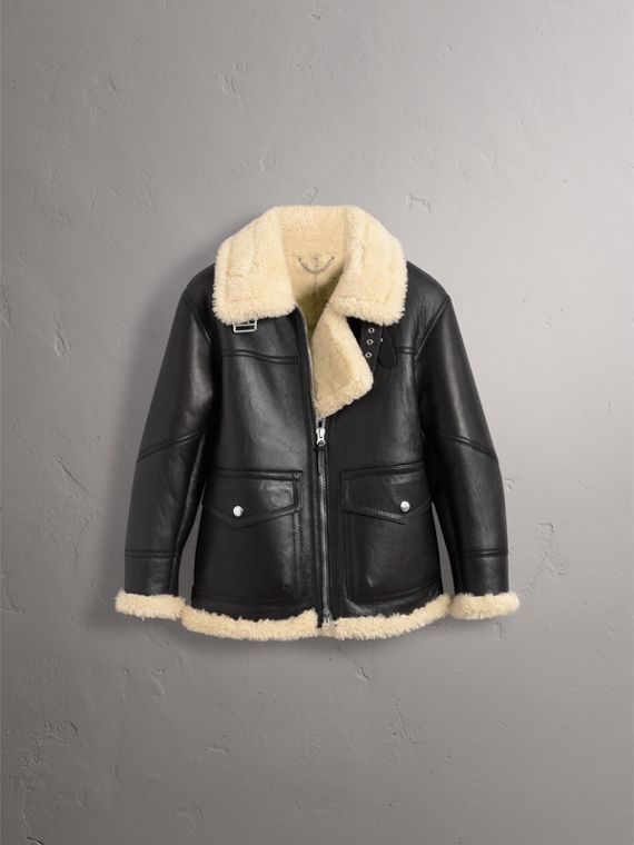 Shearling Aviator Jacket in Black - Women | Burberry - cell image 3