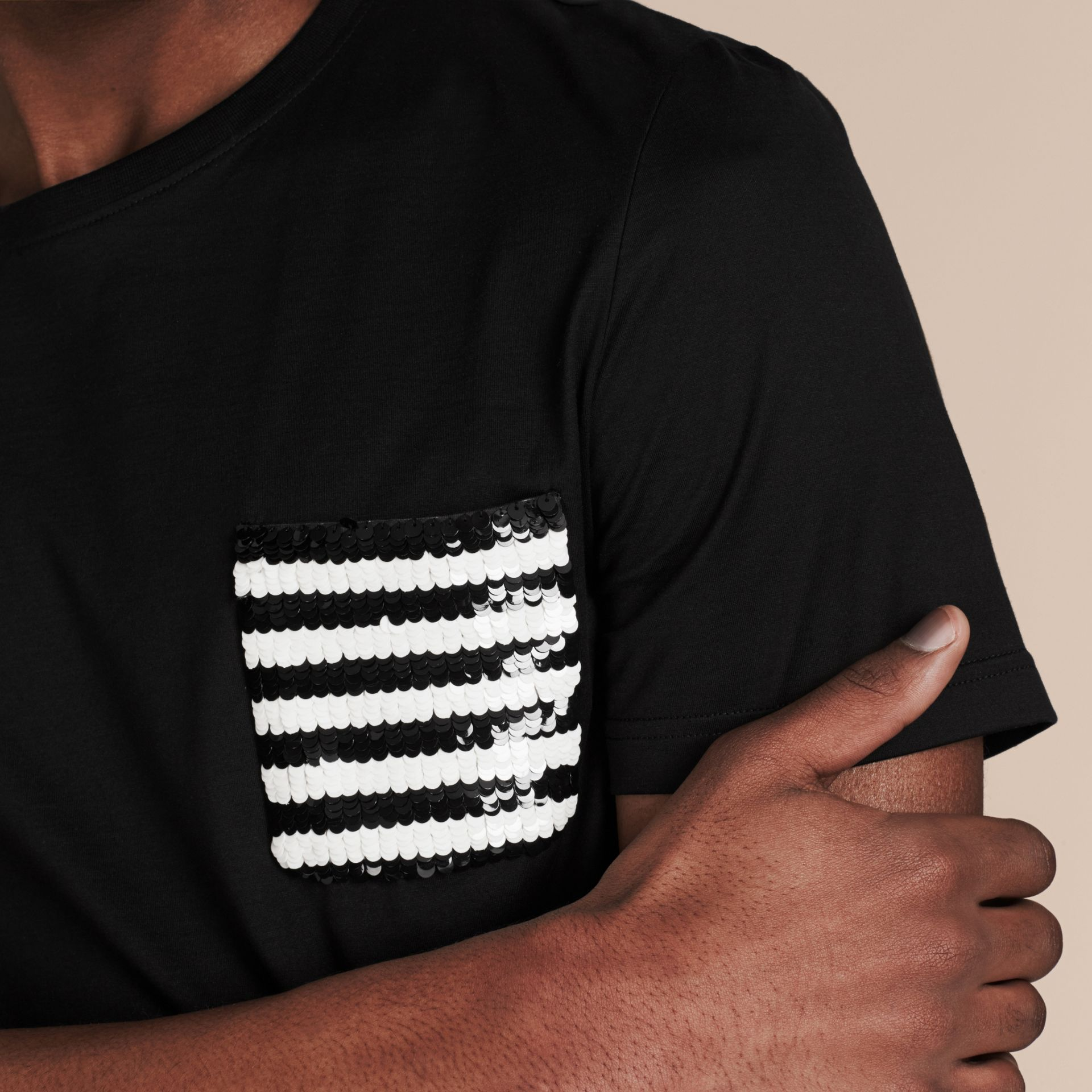 Black Cotton T-shirt with Sequin Stripe Detail Black - gallery image 4