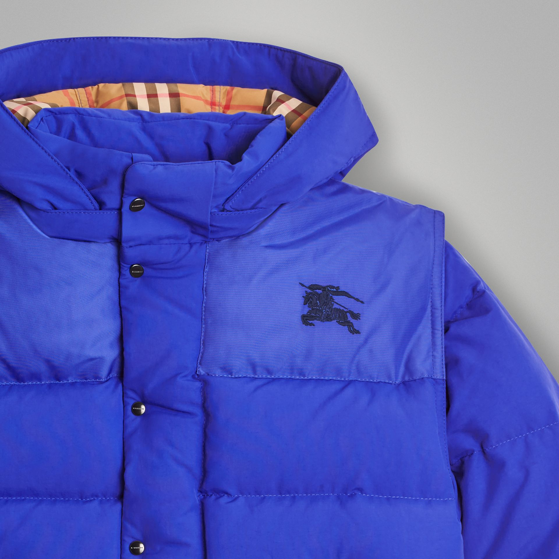 Detachable Hood Down-filled Puffer Jacket in Royal Blue | Burberry - gallery image 5