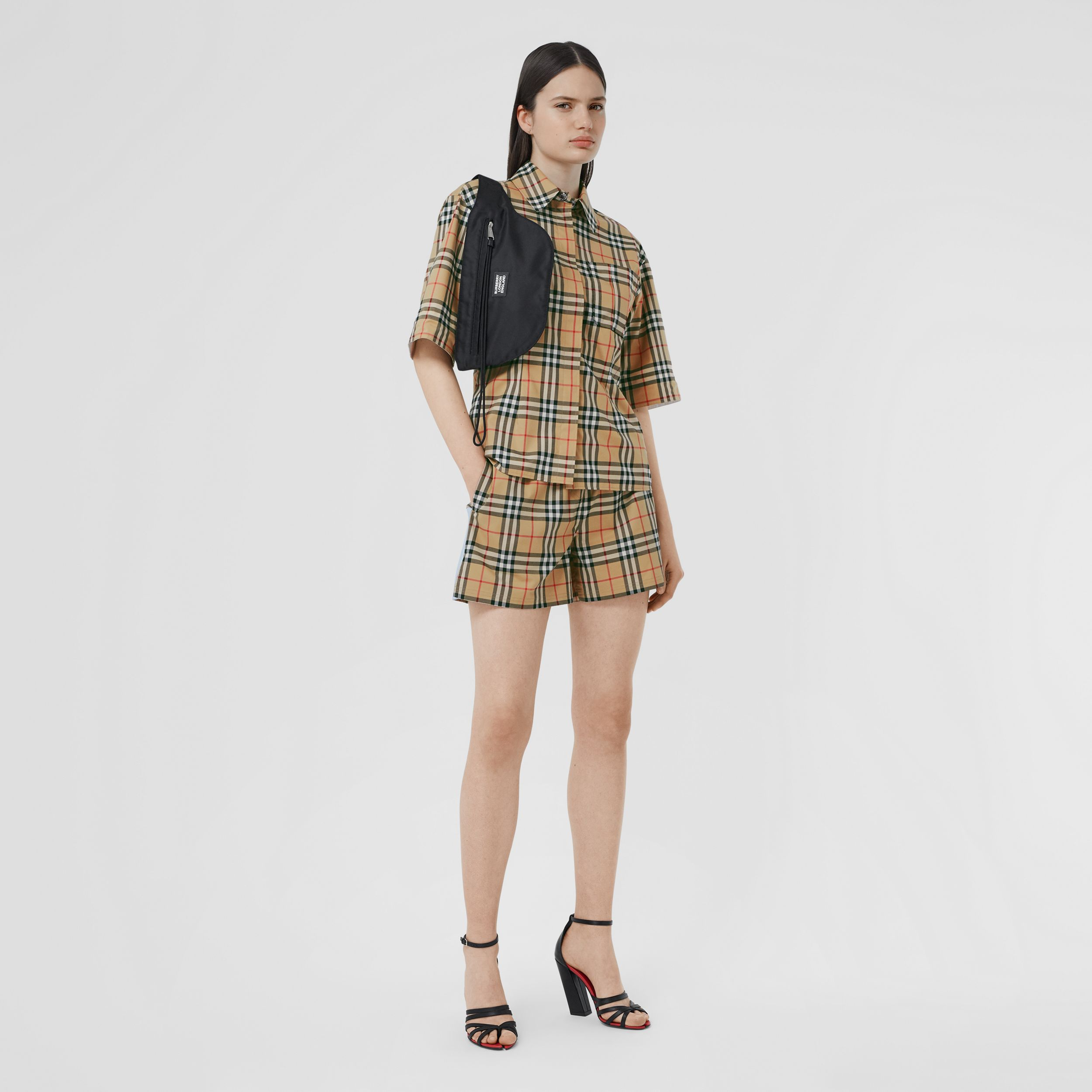 Vintage Check Stretch Cotton Shorts in Archive Beige - Women | Burberry - 1