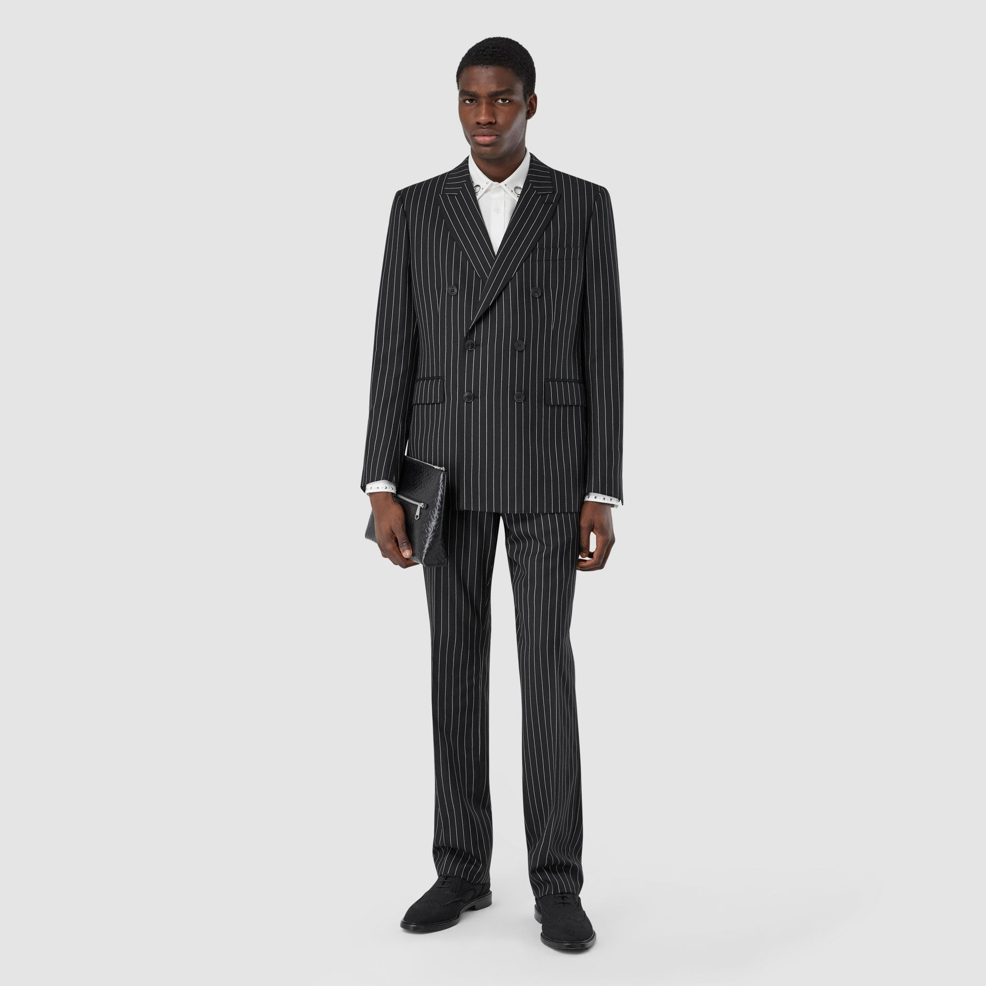 English Fit Pinstriped Wool Suit in Black - Men | Burberry United Kingdom - gallery image 0