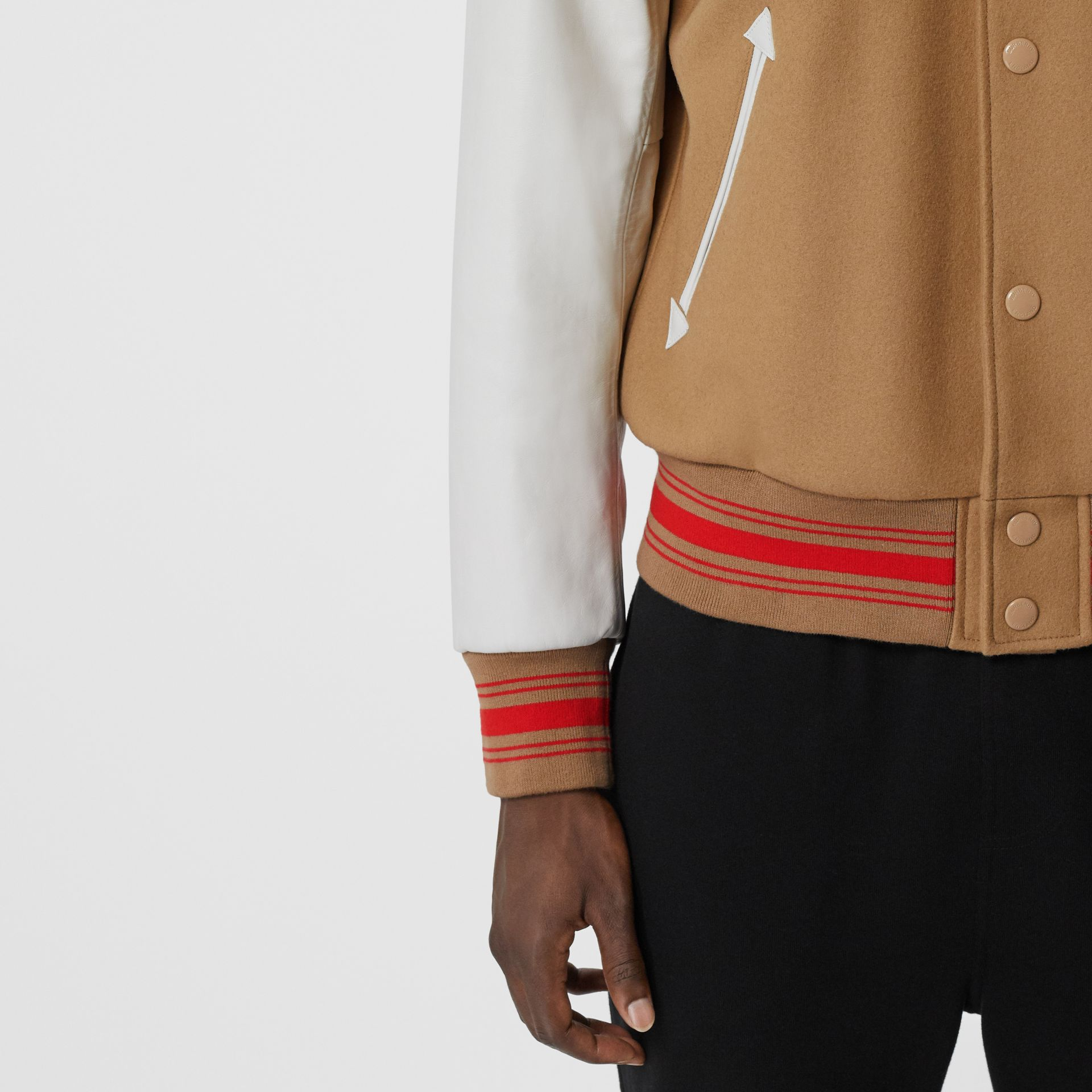 Contrast Sleeve Logo Graphic Wool Bomber Jacket in Honey - Men | Burberry - gallery image 5