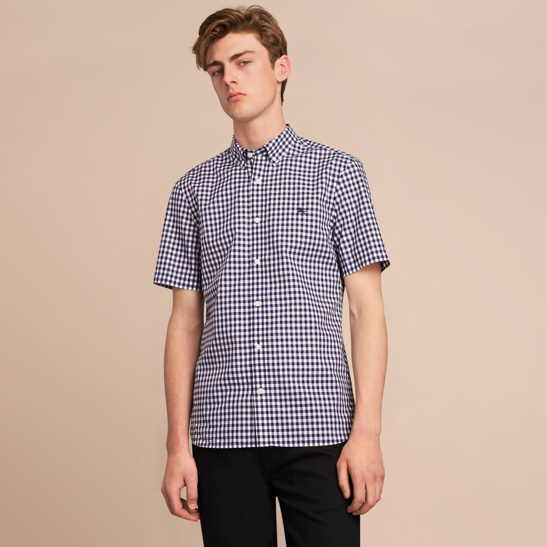 Short-sleeve Button-down Collar Cotton Gingham Shirt in Navy - Men | Burberry - gallery image 6