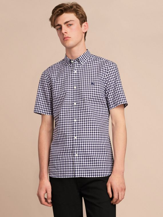 Short-sleeve Button-down Collar Cotton Gingham Shirt in Navy