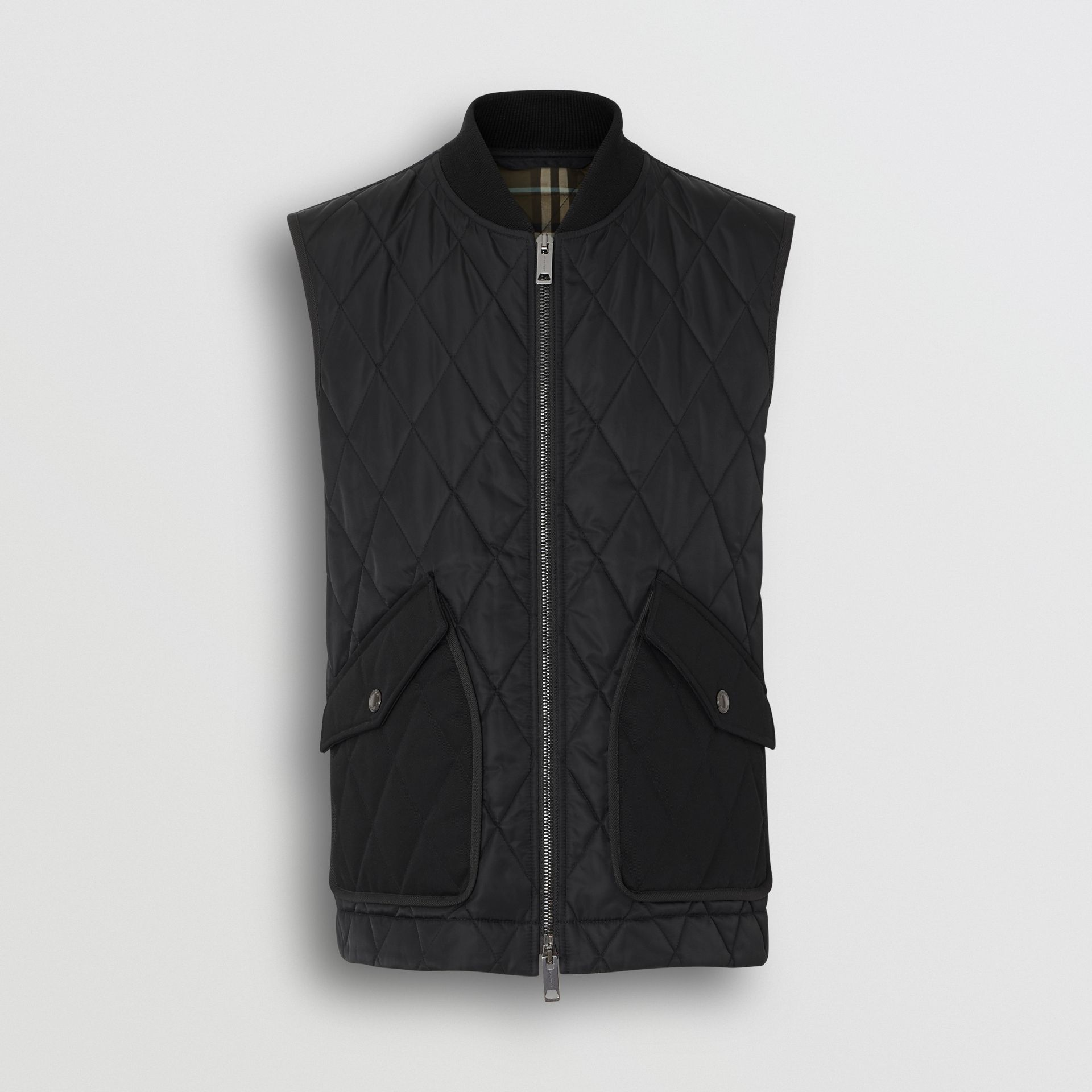 Monogram Motif Diamond Quilted Gilet in Black - Men | Burberry - gallery image 3