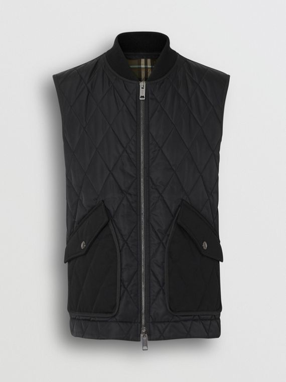 Monogram Motif Diamond Quilted Gilet in Black