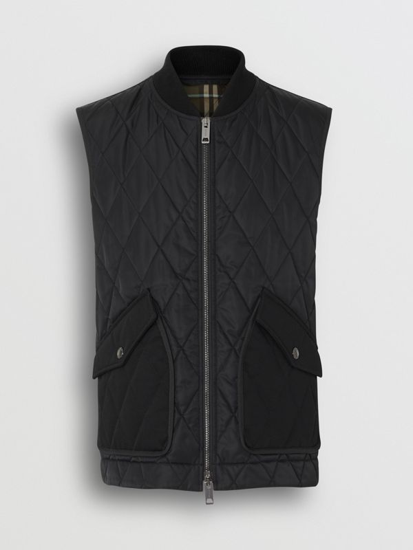 Monogram Motif Diamond Quilted Gilet in Black - Men | Burberry Singapore - cell image 3