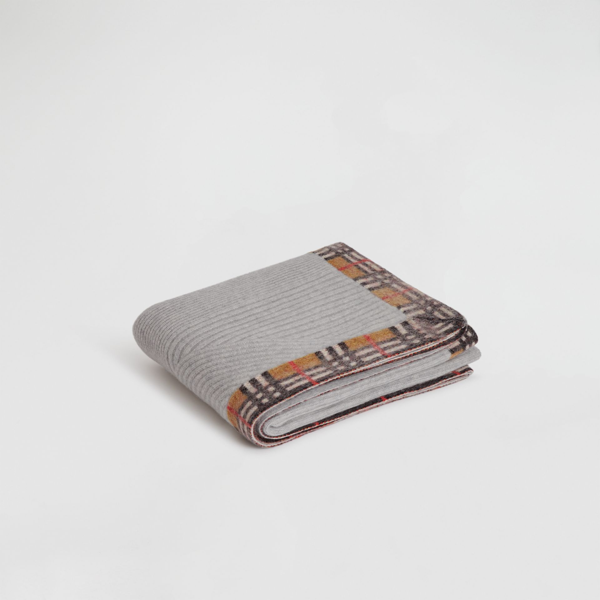 Vintage Check Detail Cashmere Baby Blanket in Light Grey Melange - Children | Burberry - gallery image 0