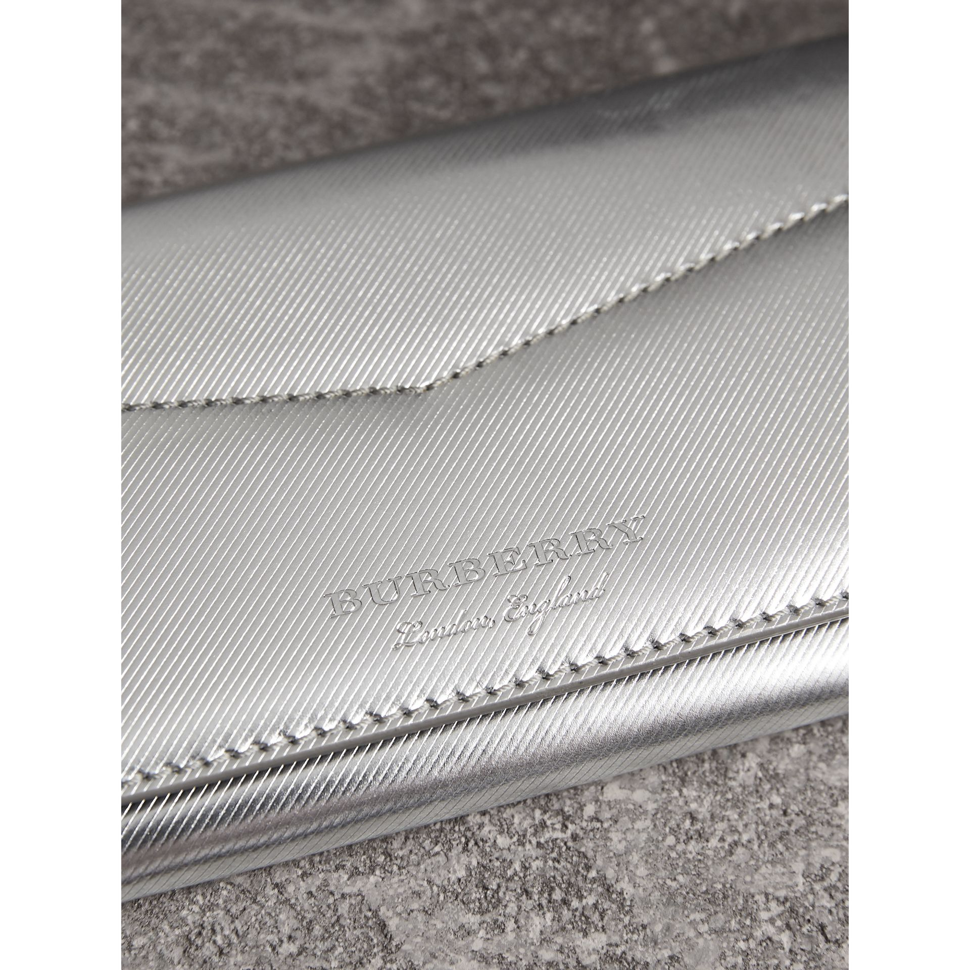 Metallic Trench Leather Envelope Wallet in Silver - Women | Burberry - gallery image 2