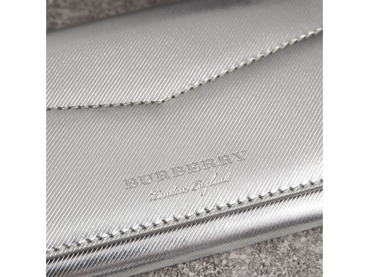 Metallic Trench Leather Envelope Wallet in Silver - Women | Burberry Australia - cell image 1