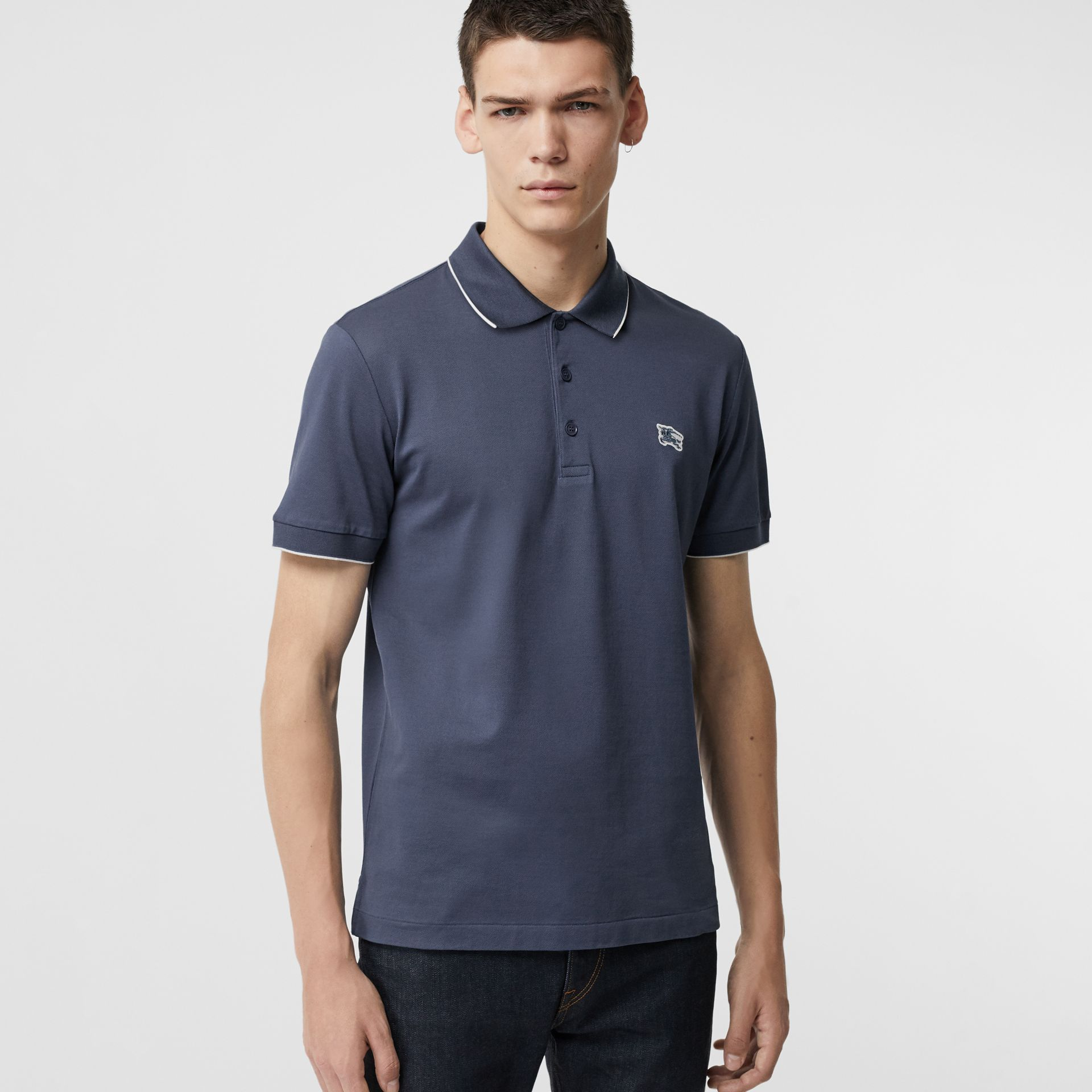Tipped Cotton Piqué Polo Shirt in Steel Blue - Men | Burberry United Kingdom - gallery image 0