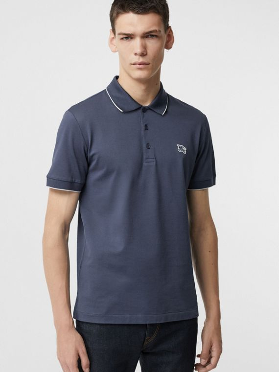 Tipped Cotton Piqué Polo Shirt in Steel Blue