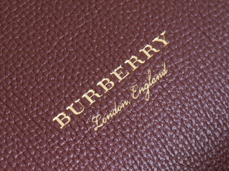 Medium Grainy Leather and House Check Tote Bag in Mahogany Red - Women | Burberry Australia - cell image 1