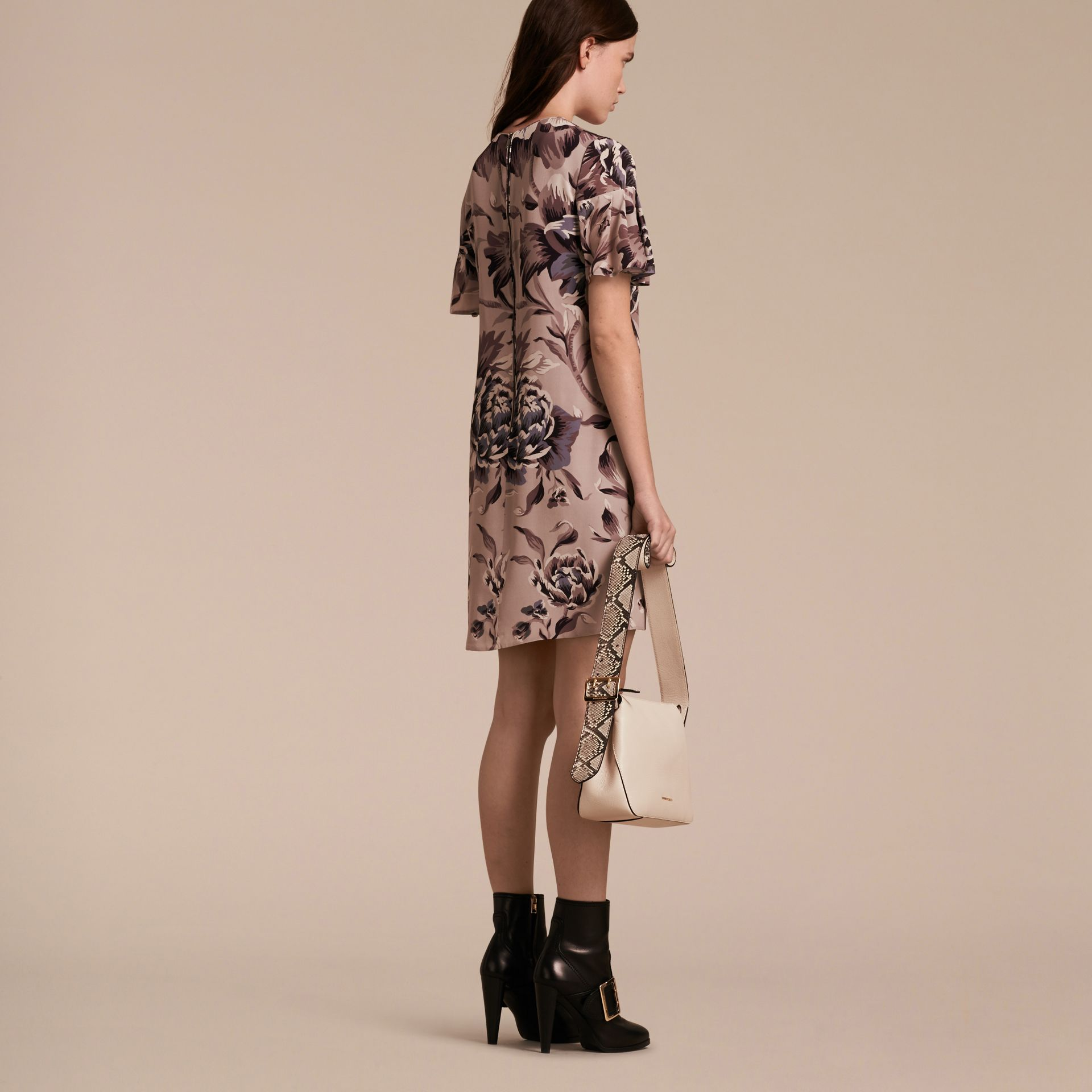Ash rose Peony Rose Silk Shift Dress with Ruffle Sleeves Ash - gallery image 3
