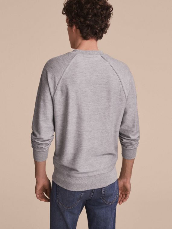 Embroidered Motif Cotton-blend Jersey Sweatshirt in Mid Grey Melange - Men | Burberry - cell image 2