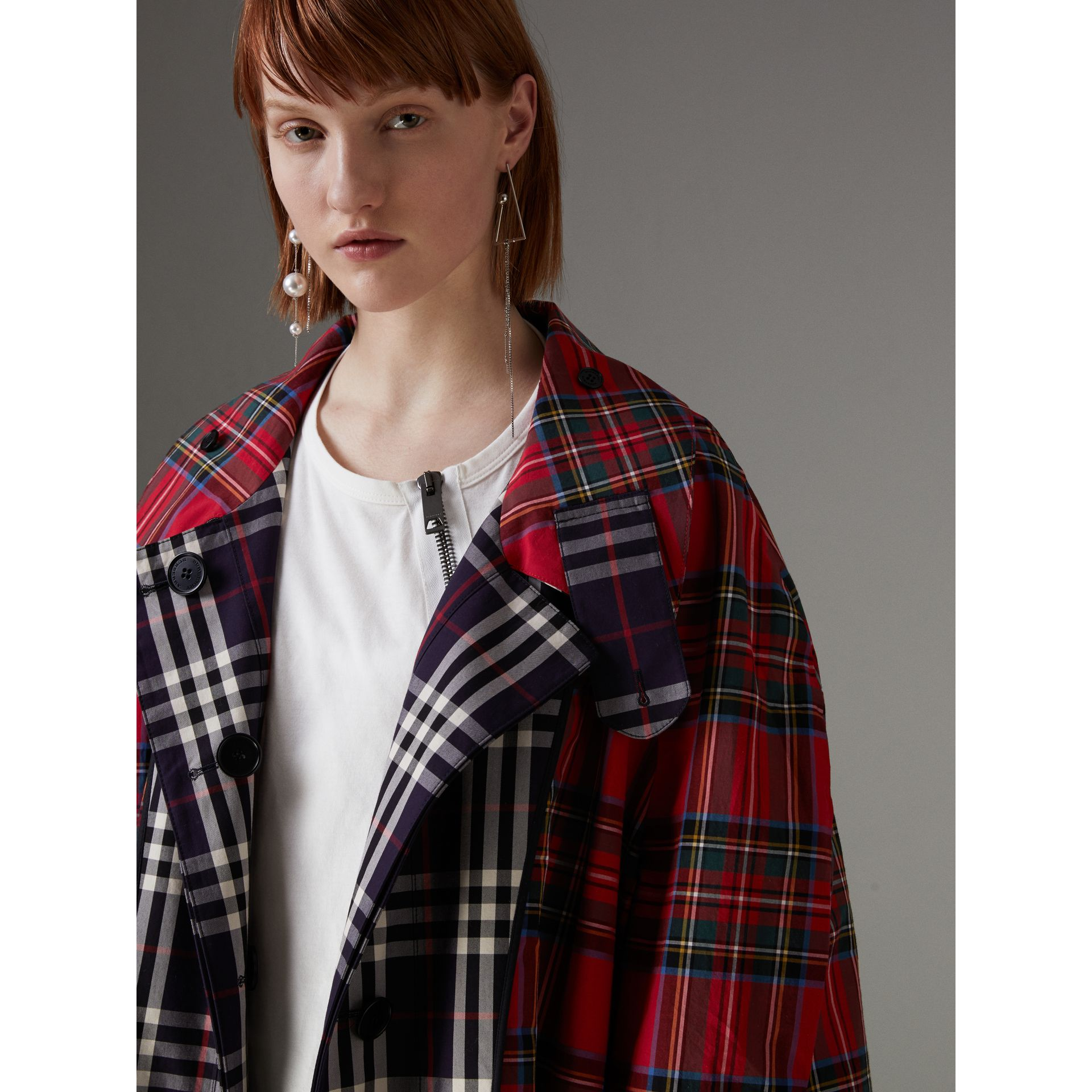 Check and Tartan Cotton Trench Coat in Navy - Women | Burberry United States - gallery image 1