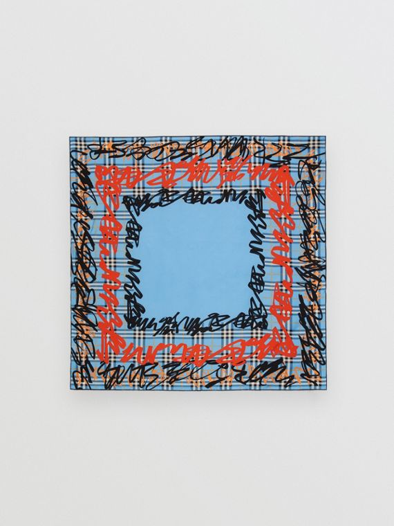 Scribble Check Silk Square Scarf in Light Azure