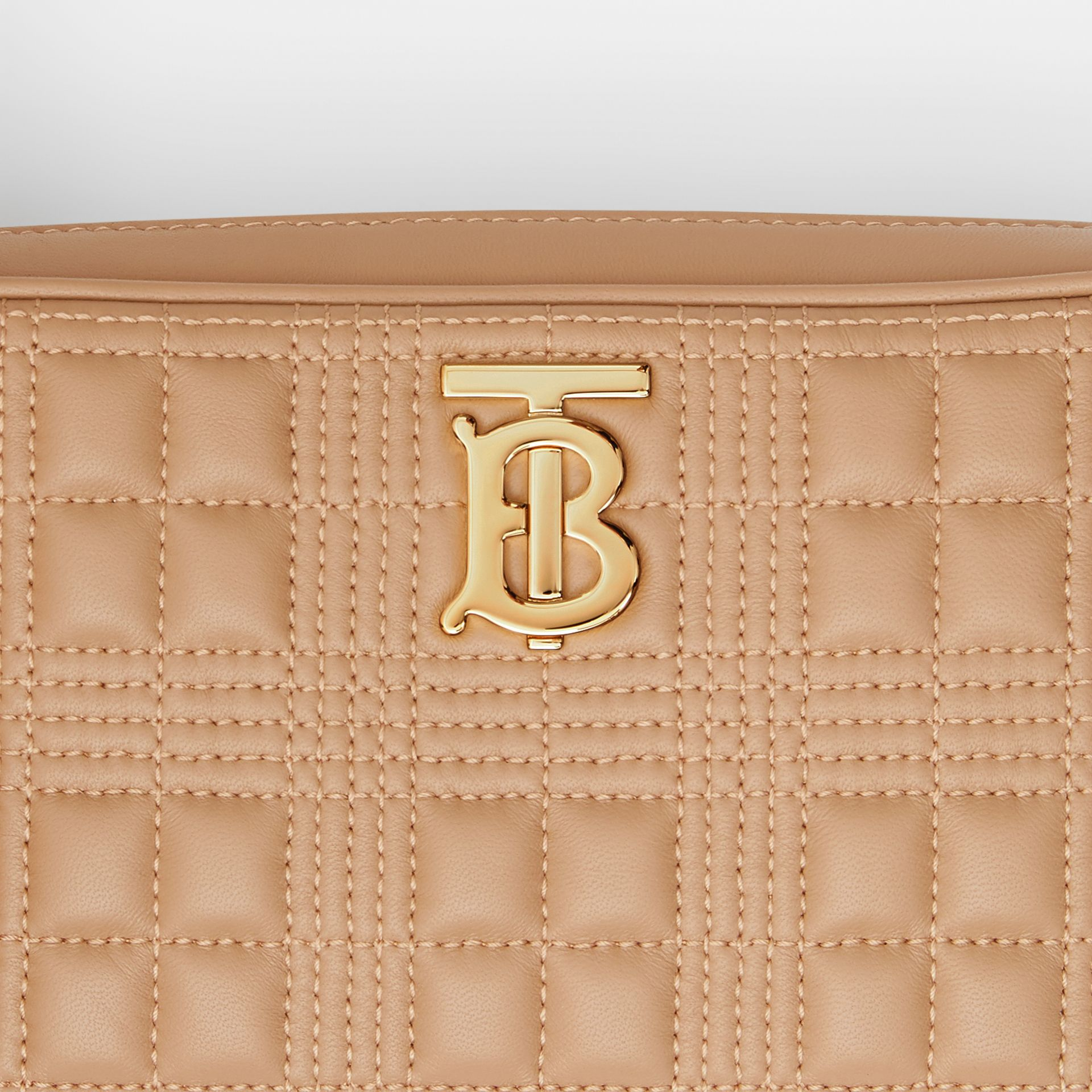 Quilted Check Lambskin Camera Bag in Camel - Women | Burberry - gallery image 1