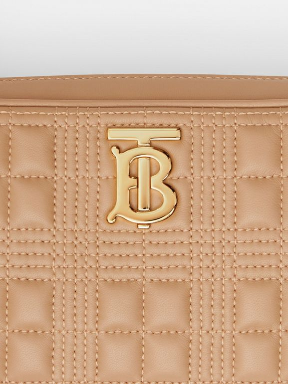 Quilted Check Lambskin Camera Bag in Camel - Women | Burberry - cell image 1