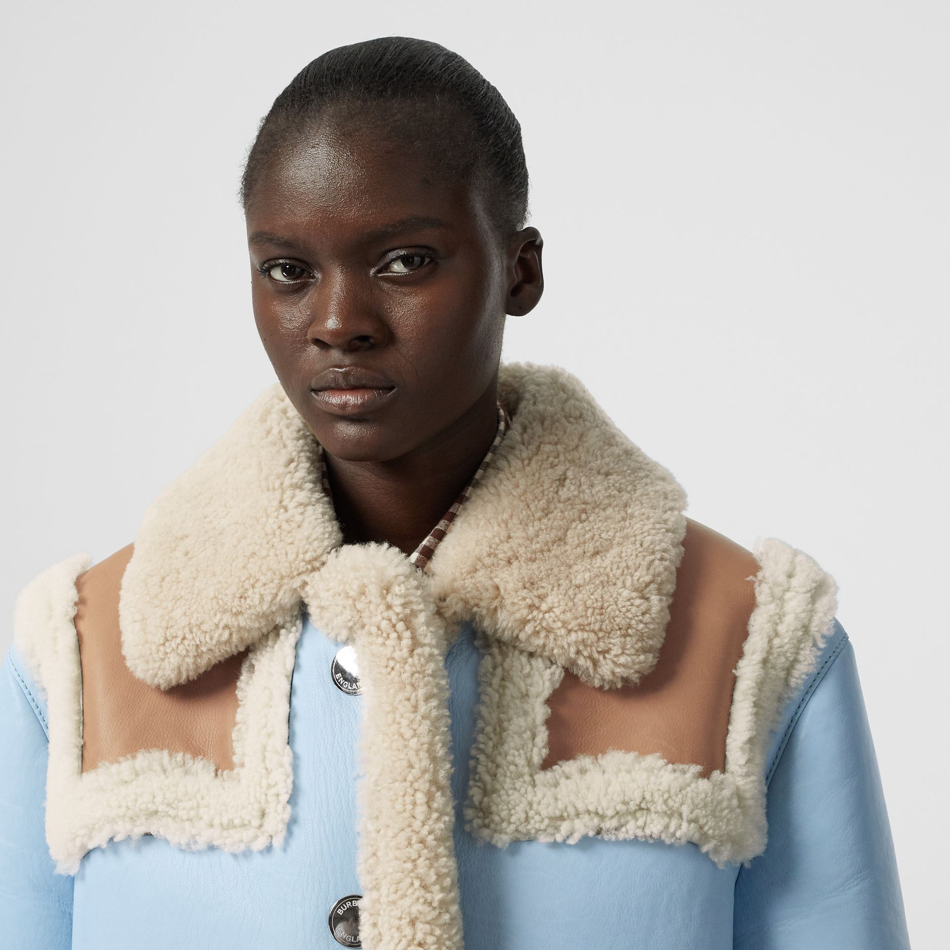 Two-tone Leather and Shearling Coat in Baby Blue - Women | Burberry - gallery image 7