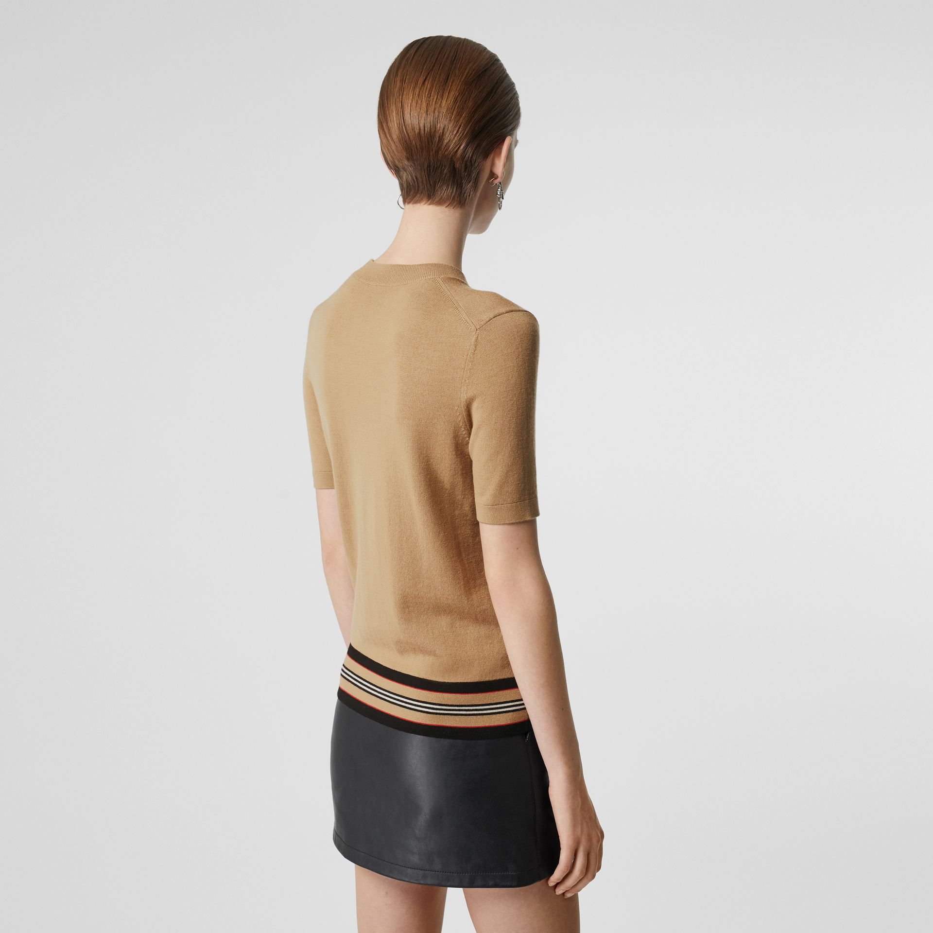 Short-sleeve Icon Stripe Detail Merino Wool Top in Camel - Women | Burberry - gallery image 2