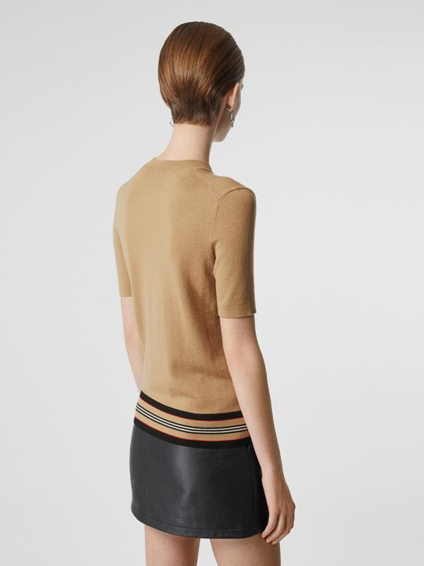 Short-sleeve Icon Stripe Detail Merino Wool Top in Camel - Women | Burberry - cell image 2