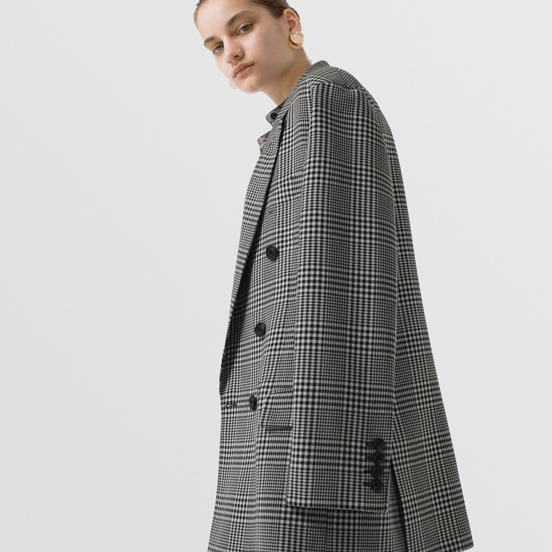 Prince of Wales Check Wool Oversized Jacket in Mist Green - Women | Burberry Singapore - gallery image 1