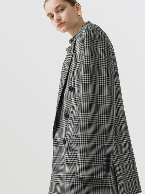 Prince of Wales Check Wool Oversized Jacket in Mist Green - Women | Burberry Singapore - cell image 1