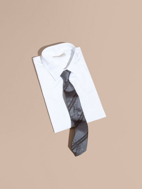 Modern Cut Python Jacquard Silk Tie in Charcoal - cell image 3