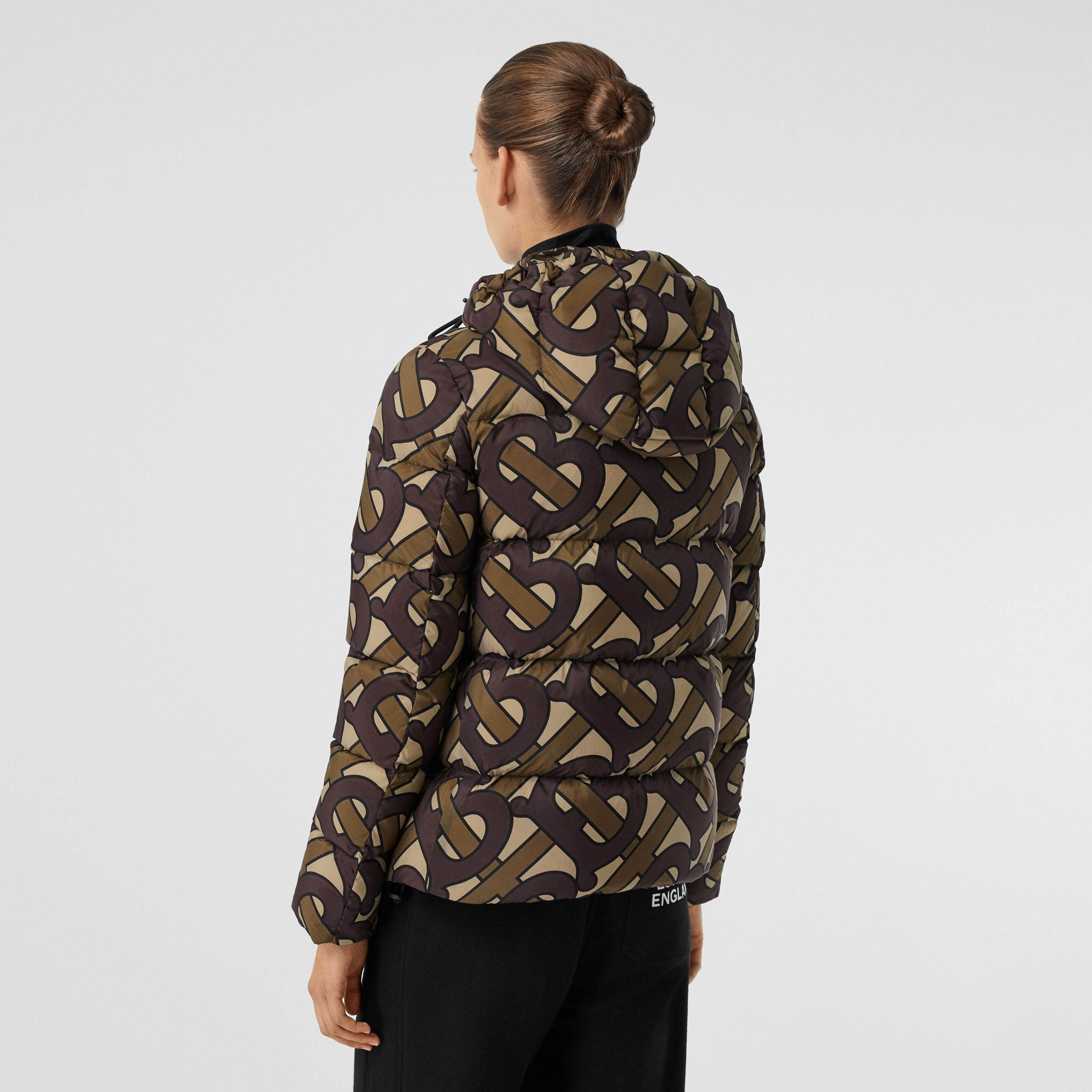 Monogram Print Hooded Puffer Jacket in Bridle Brown - Women | Burberry - 3