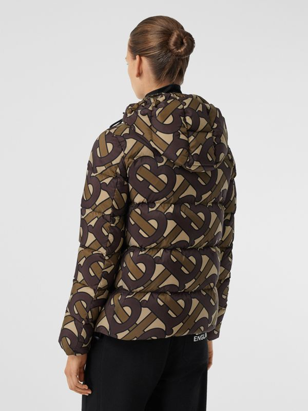 Monogram Print Hooded Puffer Jacket in Bridle Brown - Women | Burberry United States - cell image 2