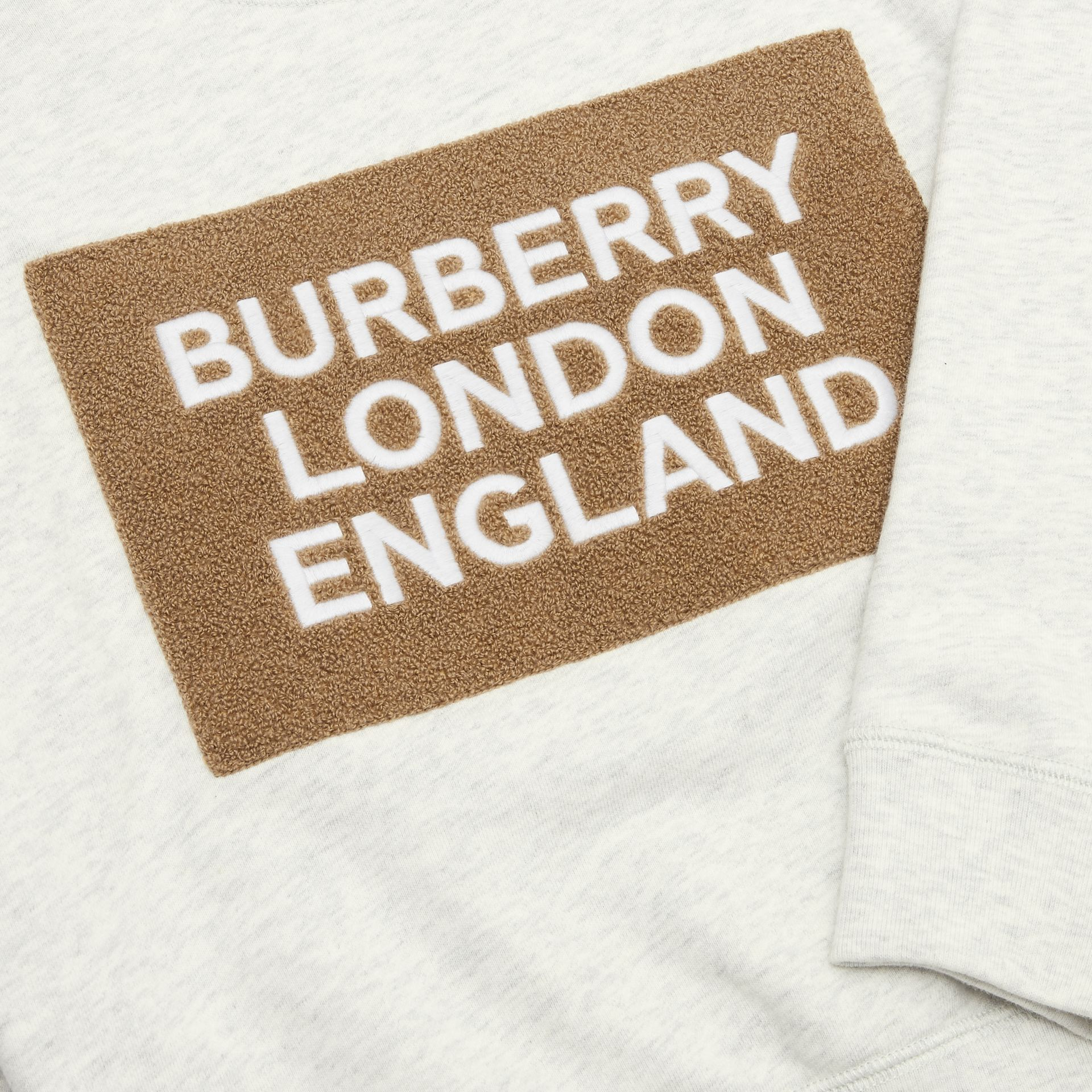 Logo Detail Cotton Sweatshirt in White Melange | Burberry Singapore - gallery image 1