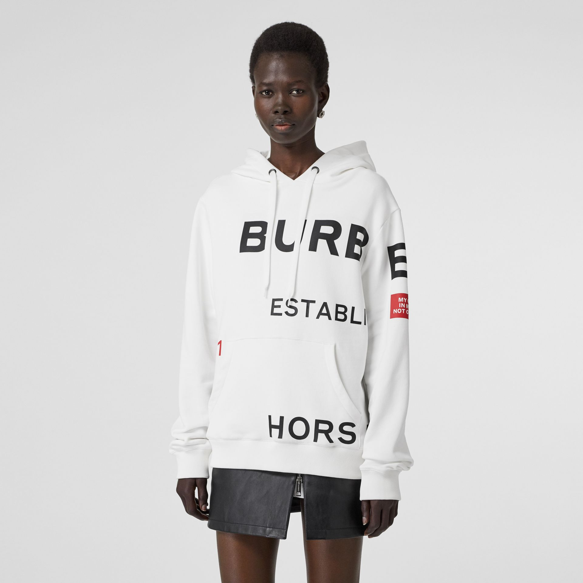 Horseferry Print Cotton Oversized Hoodie in White - Women | Burberry - gallery image 0