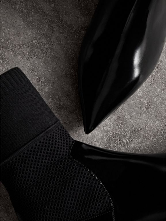 Patent Leather and Knitted Mesh Ankle Boots in Black - Women | Burberry United States - cell image 1