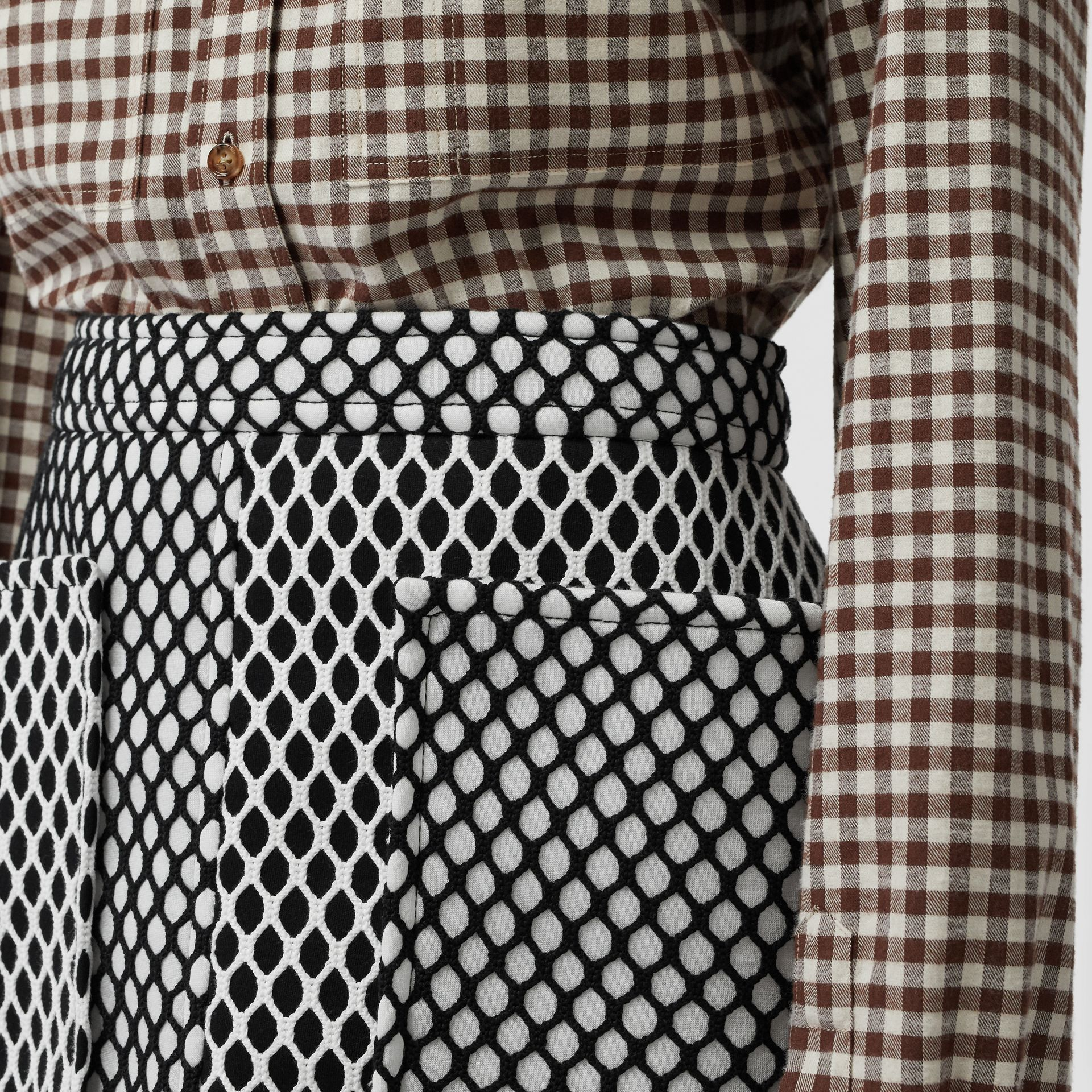 Pocket Detail Mesh and Neoprene Mini Skirt in Black - Women | Burberry - gallery image 1