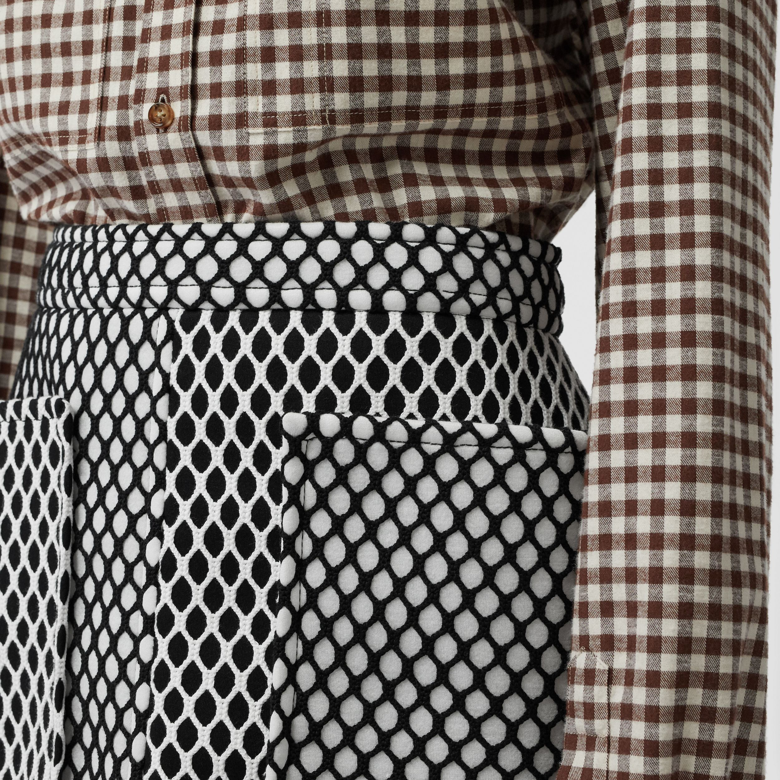 Pocket Detail Mesh and Neoprene Mini Skirt in Black - Women | Burberry - 2