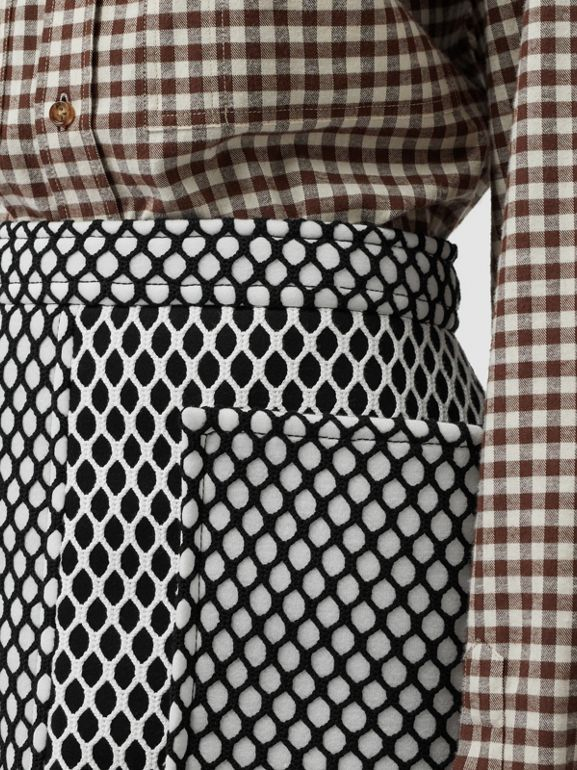 Pocket Detail Mesh and Neoprene Mini Skirt in Black - Women | Burberry United States - cell image 1