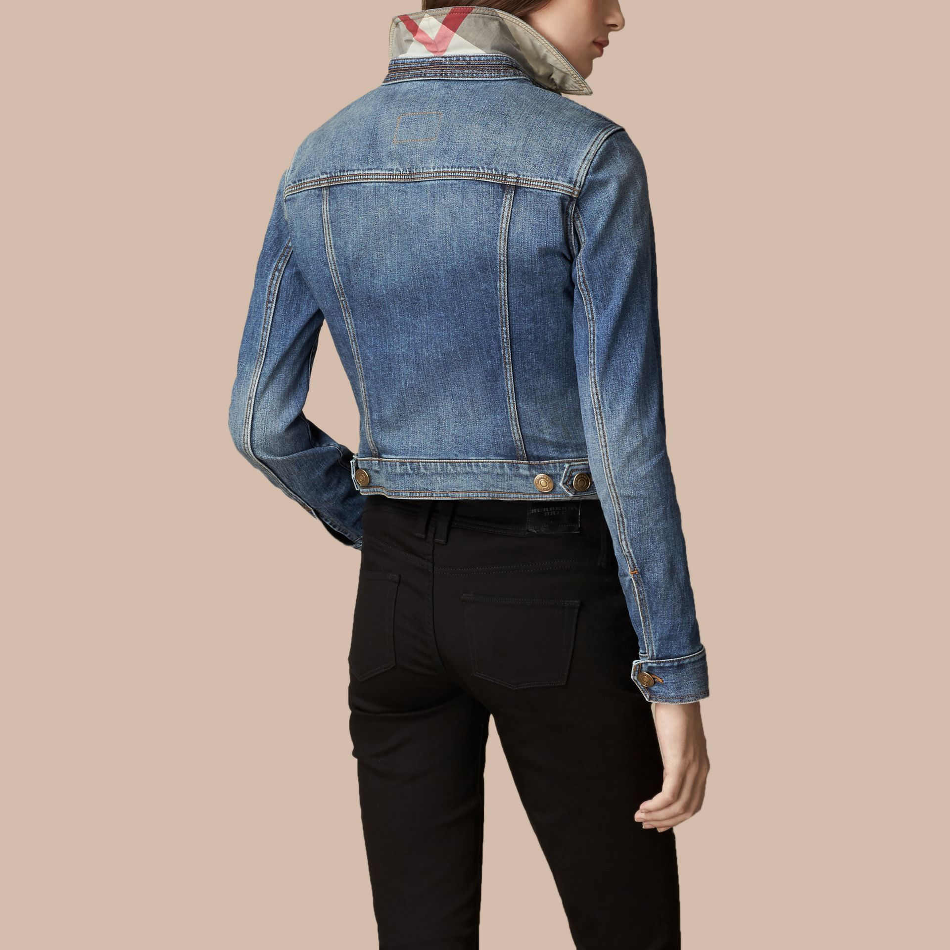 Mid indigo Check Undercollar Denim Jacket - gallery image 3
