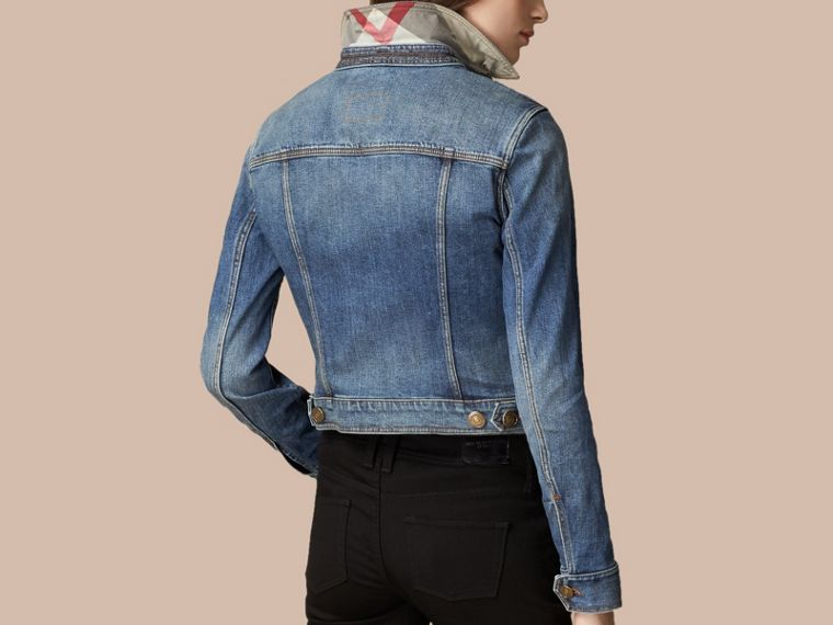 Mid indigo Check Undercollar Denim Jacket - cell image 2