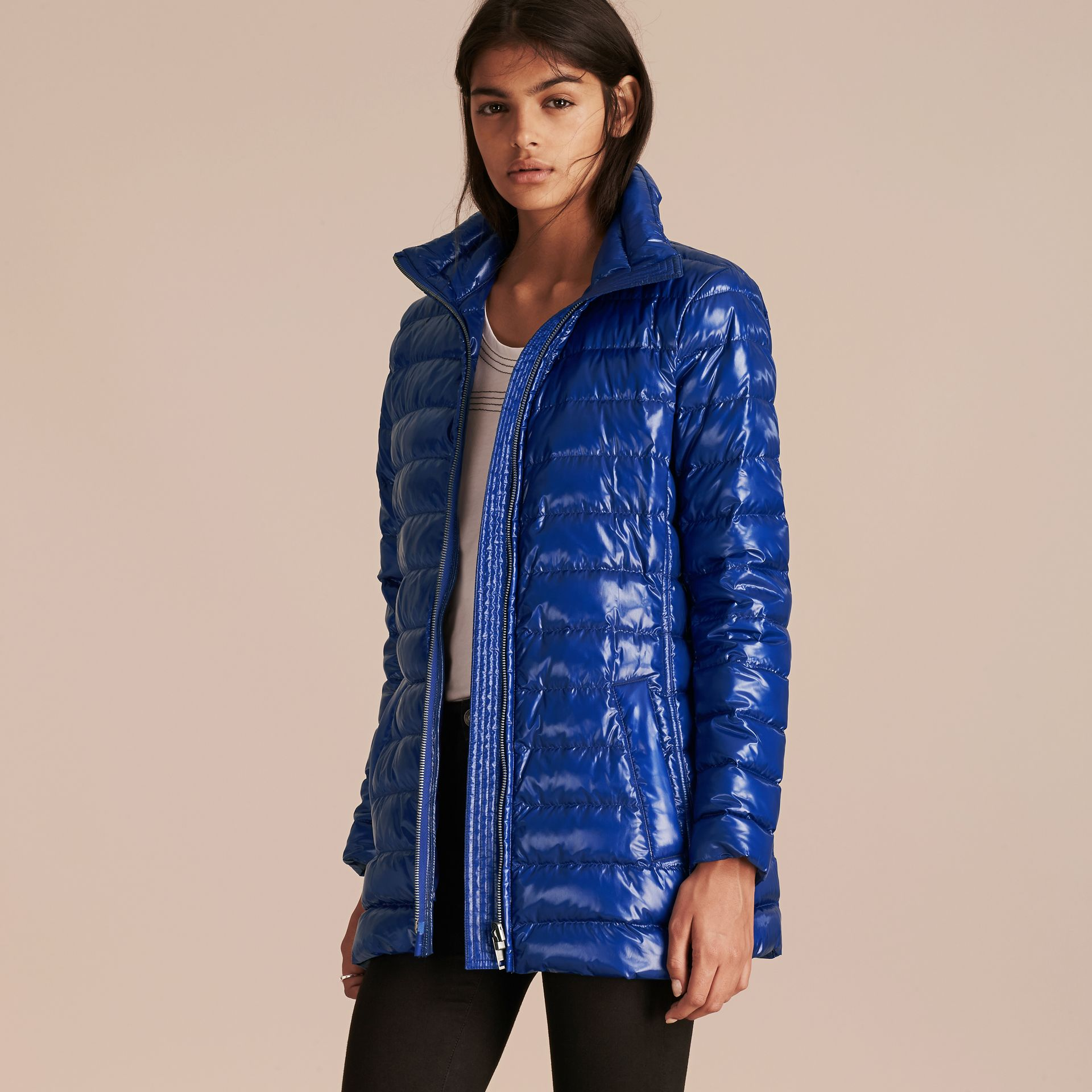 Fur-trimmed Parka with Detachable Down-filled Jacket in Ink Blue - gallery image 3