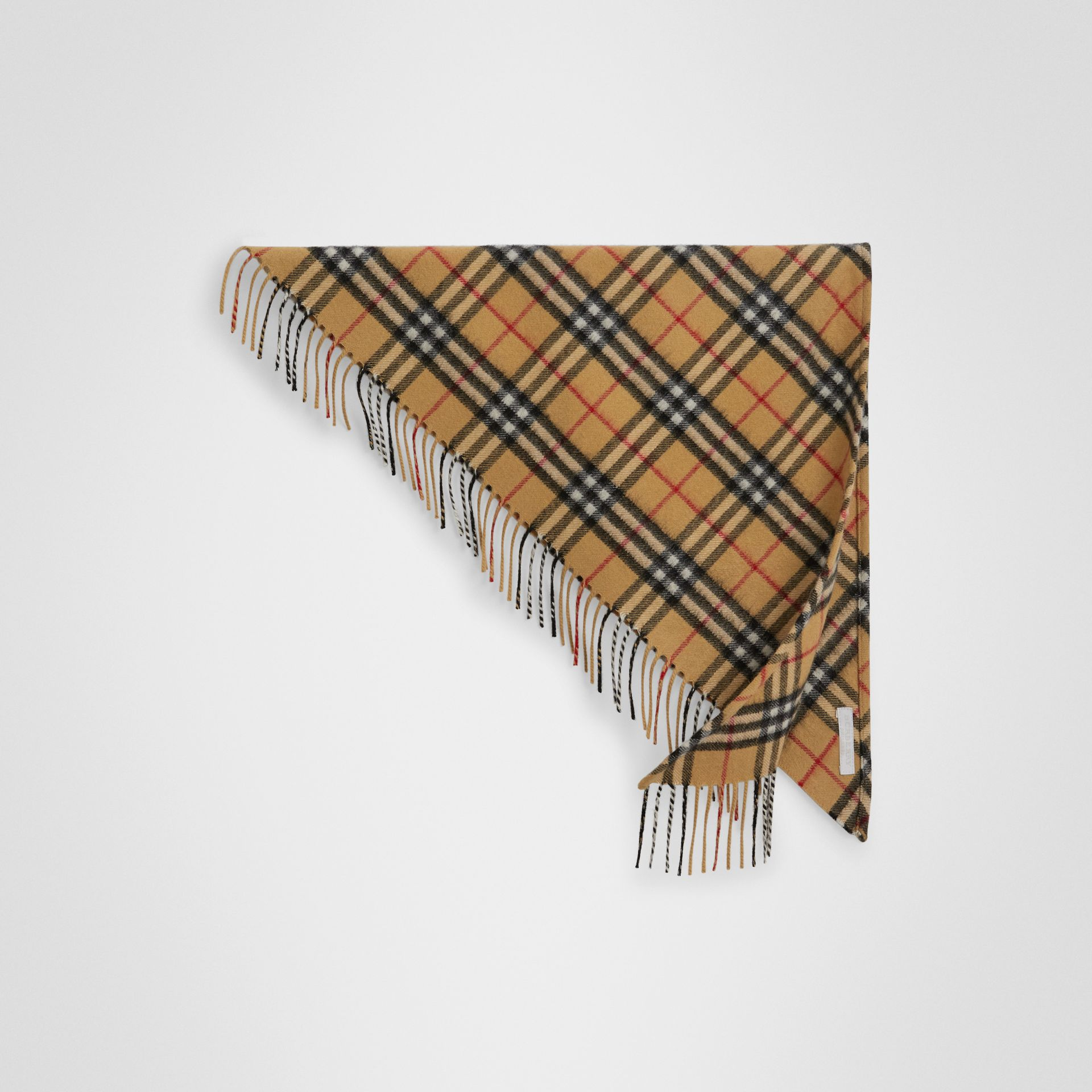 The Mini Burberry Bandana in Vintage Check Cashmere in Antique Yellow | Burberry United Kingdom - gallery image 0