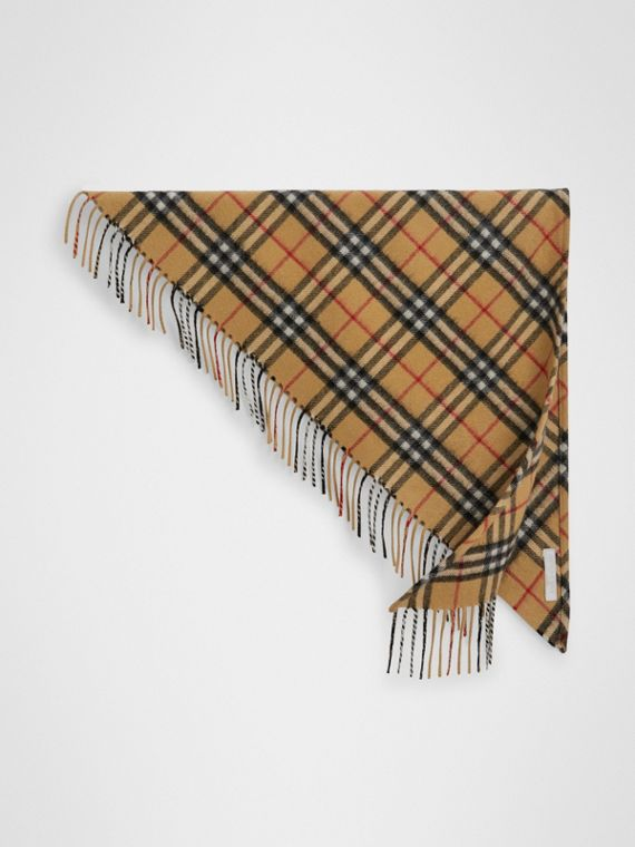 The Burberry Bandana mini in cashmere con motivo Vintage check (Giallo Antico)