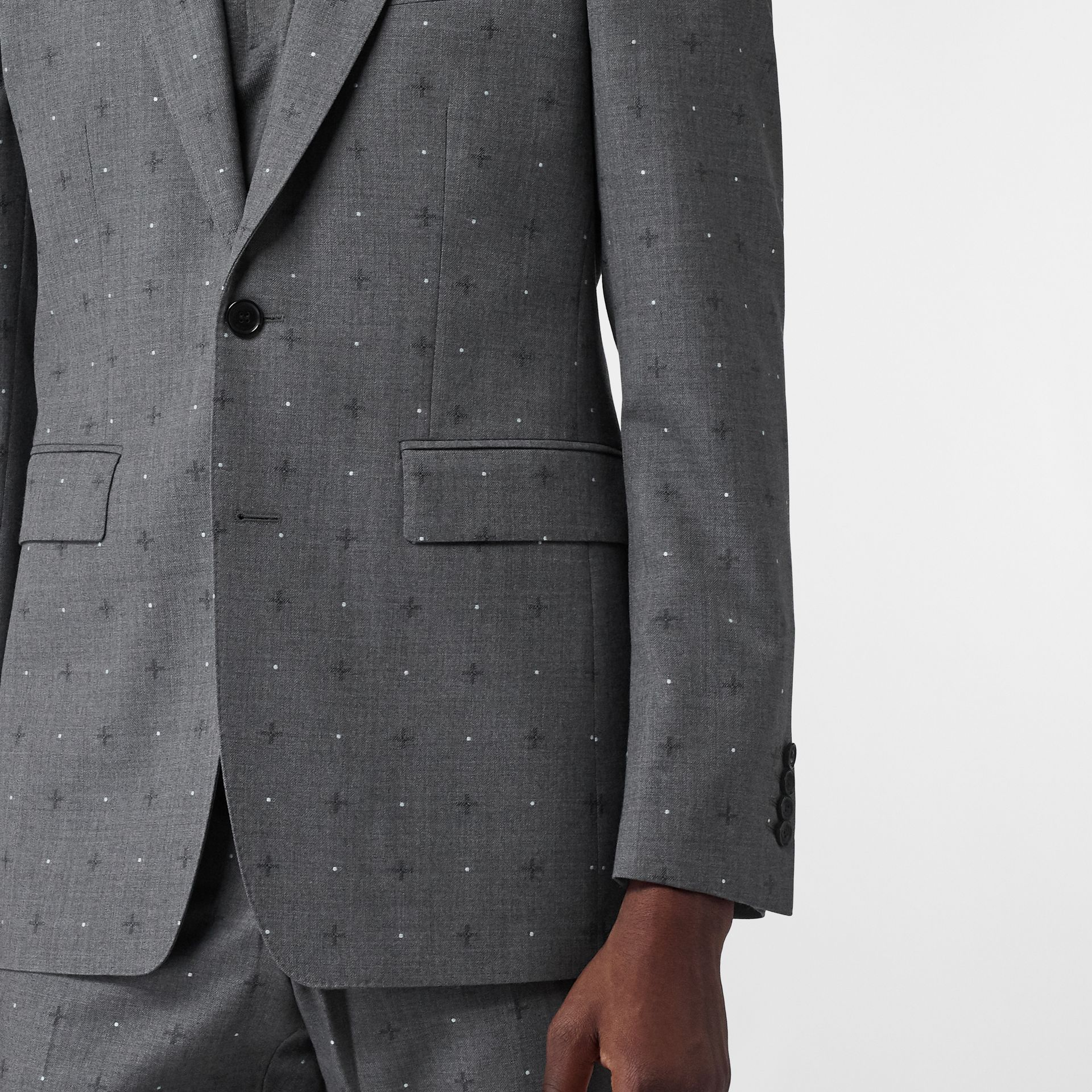 English Fit Fil Coupé Wool Cotton Tailored Jacket in Mid Grey Melange - Men | Burberry - gallery image 5