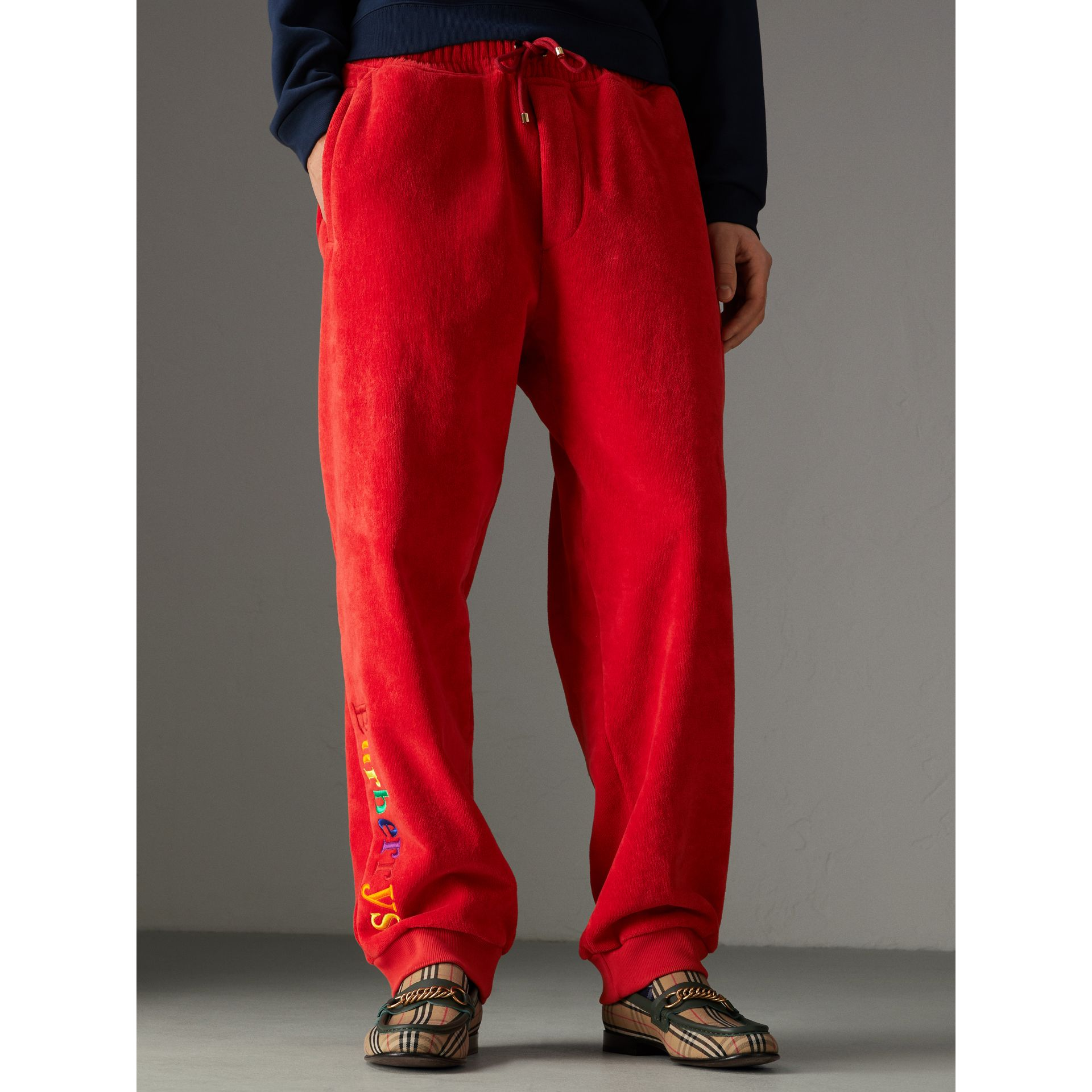 Archive Logo Towelling Sweatpants in Bright Red | Burberry United States - gallery image 4