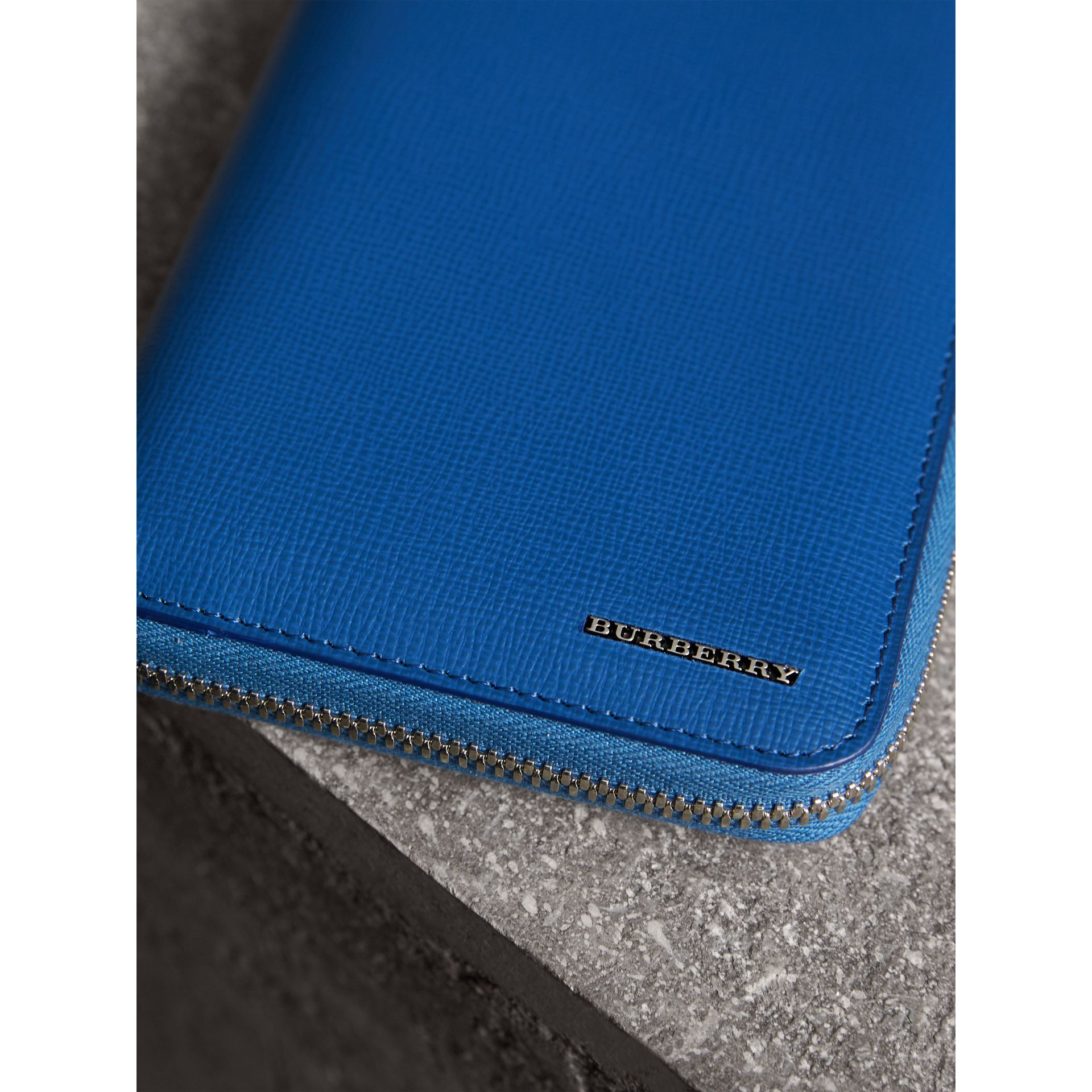 London Leather Ziparound Wallet in Deep Blue | Burberry - gallery image 1